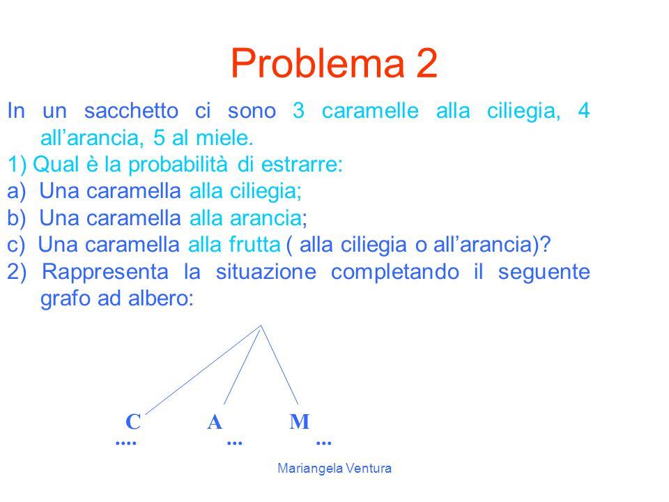 Problema 2 In un sacchetto ci sono 3 caramelle alla ciliegia, 4 all'arancia, 5 al miele. 1) Qual è la probabilità di estrarre: