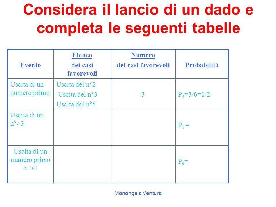 Considera il lancio di un dado e completa le seguenti tabelle