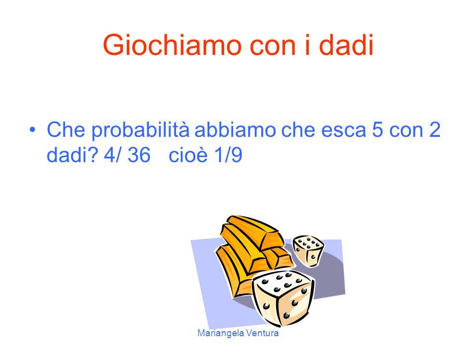 Giochiamo con i dadi Che probabilità abbiamo che esca 5 con 2 dadi.