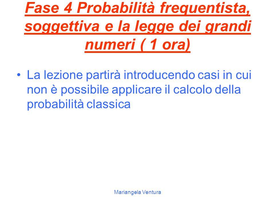 Fase 4 Probabilità frequentista, soggettiva e la legge dei grandi numeri ( 1 ora)