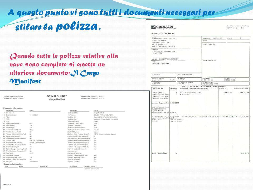 A questo punto vi sono tutti i documenti necessari per stilare la polizza .