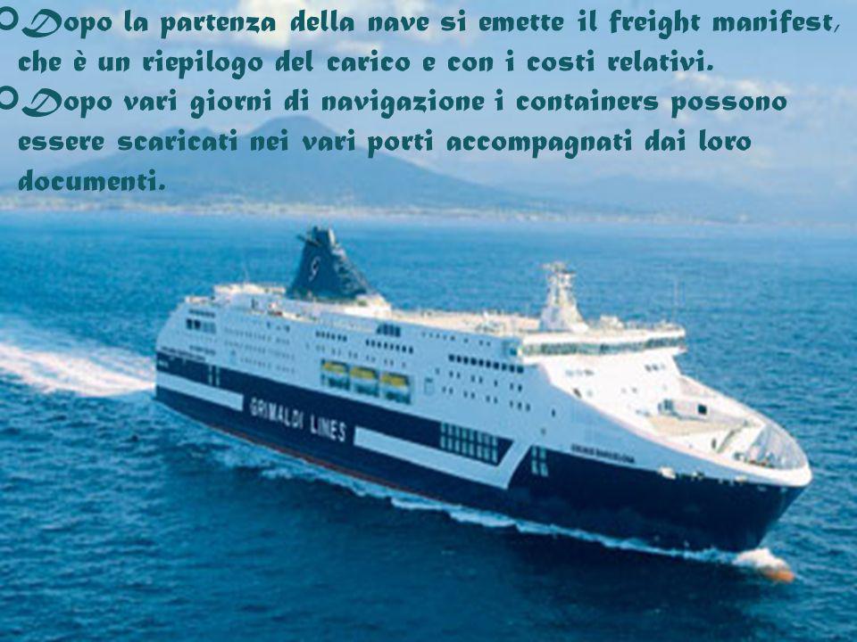 Dopo la partenza della nave si emette il freight manifest, che è un riepilogo del carico e con i costi relativi.