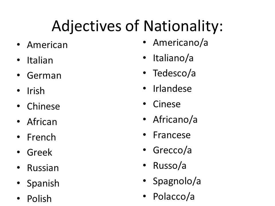 Adjectives of Nationality: