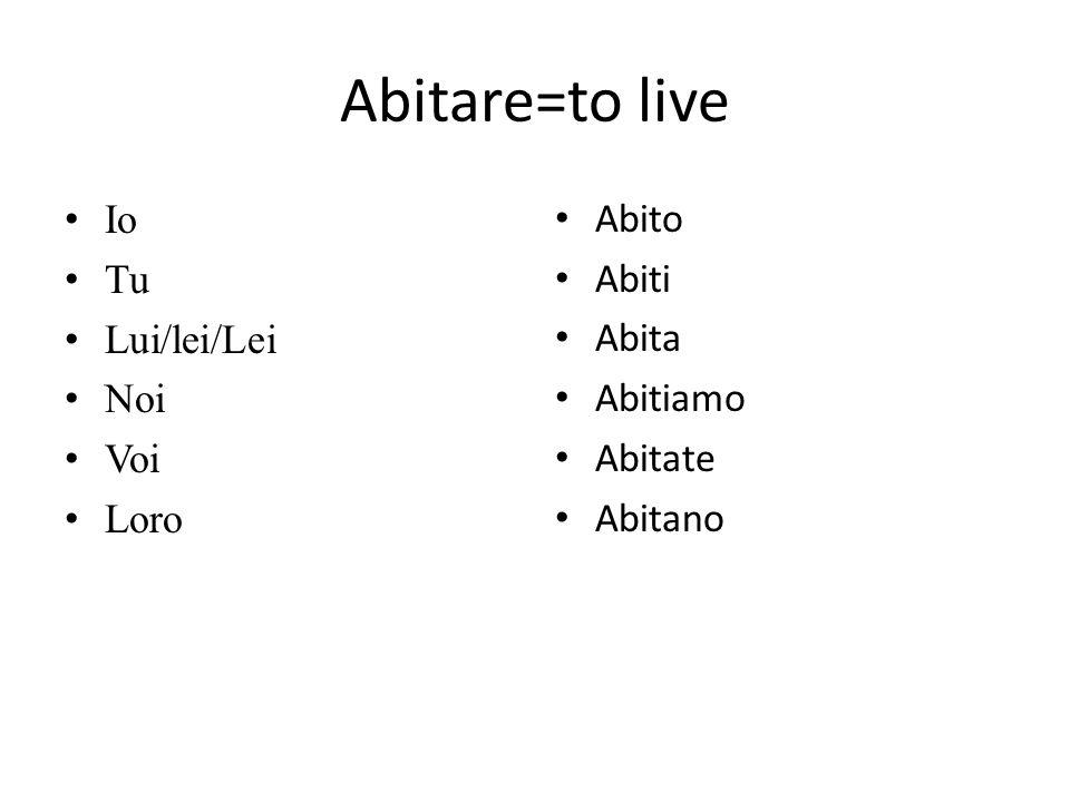 Abitare=to live Io Tu Lui/lei/Lei Noi Voi Loro Abito Abiti Abita