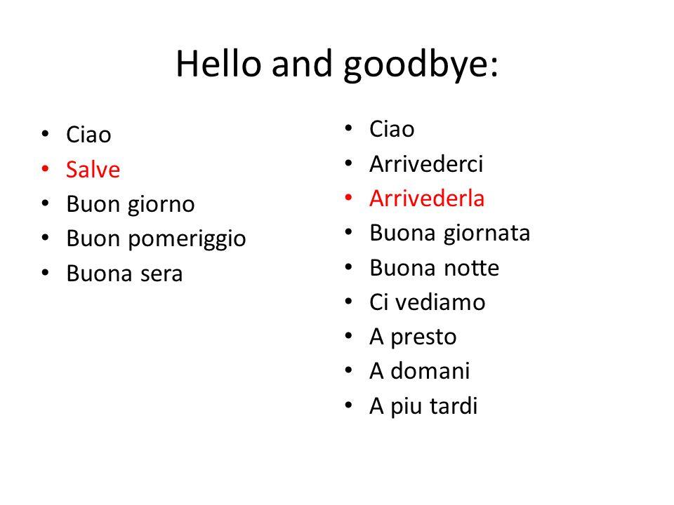 Hello and goodbye: Ciao Ciao Arrivederci Salve Arrivederla Buon giorno