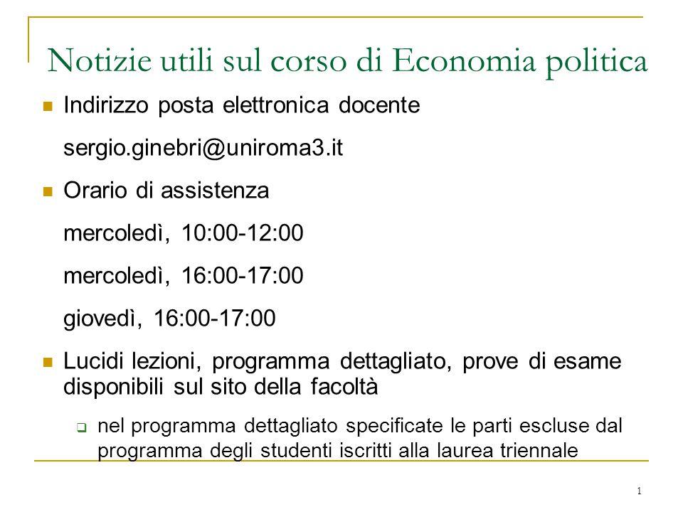 Notizie utili sul corso di Economia politica
