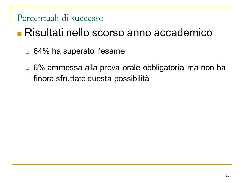 Percentuali di successo