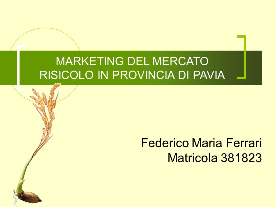 MARKETING DEL MERCATO RISICOLO IN PROVINCIA DI PAVIA