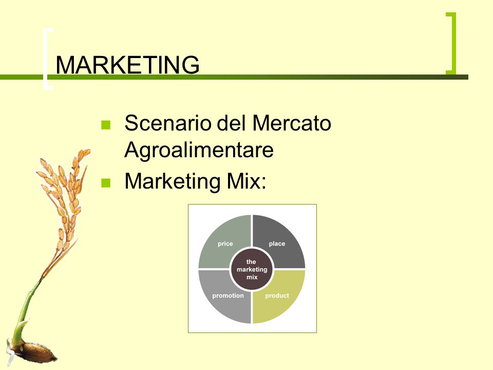 MARKETING Scenario del Mercato Agroalimentare Marketing Mix: