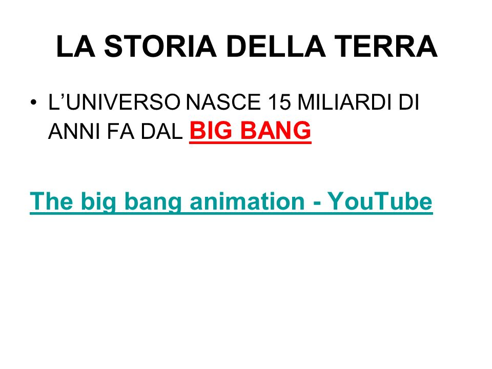 LA STORIA DELLA TERRA The big bang animation - YouTube