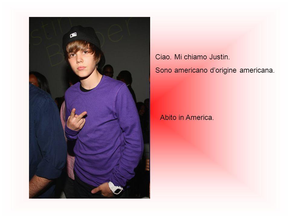 Ciao. Mi chiamo Justin. Sono americano d'origine americana. Abito in America.