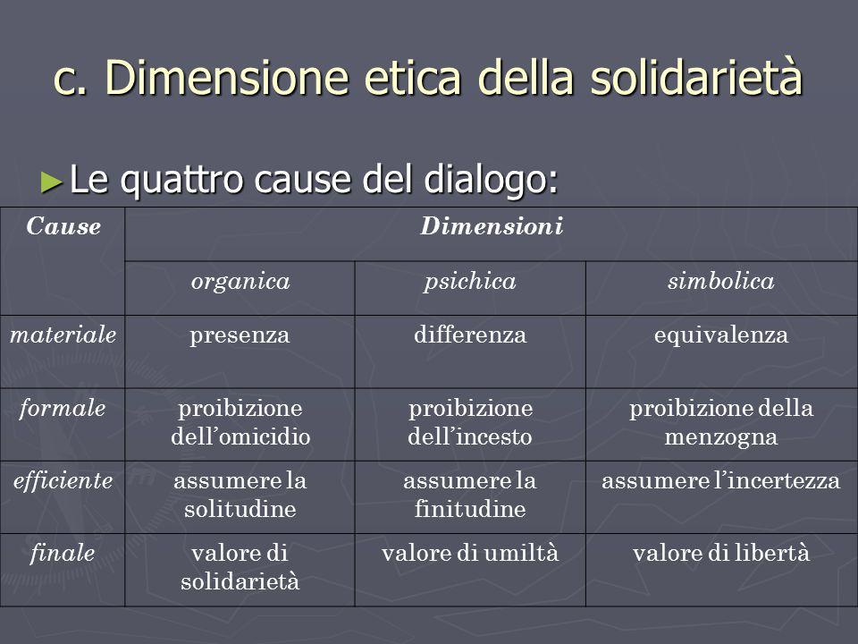 c. Dimensione etica della solidarietà