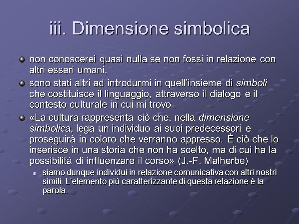 iii. Dimensione simbolica