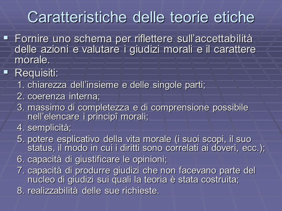 Caratteristiche delle teorie etiche