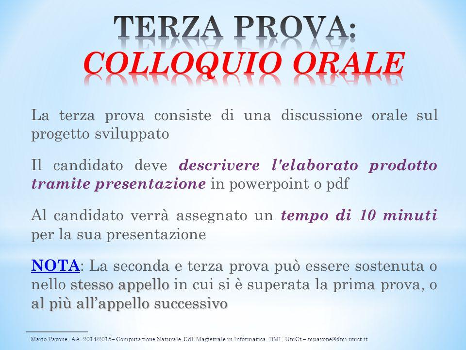 TERZA PROVA: COLLOQUIO ORALE
