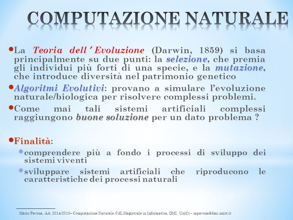 COMPUTAZIONE NATURALE