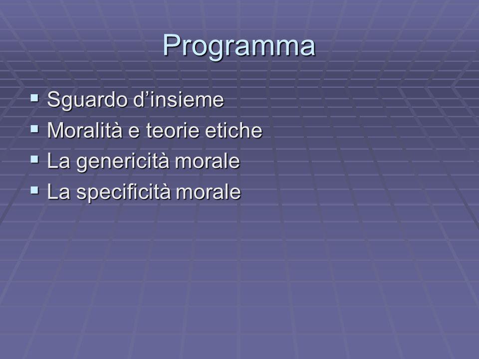 Programma Sguardo d'insieme Moralità e teorie etiche