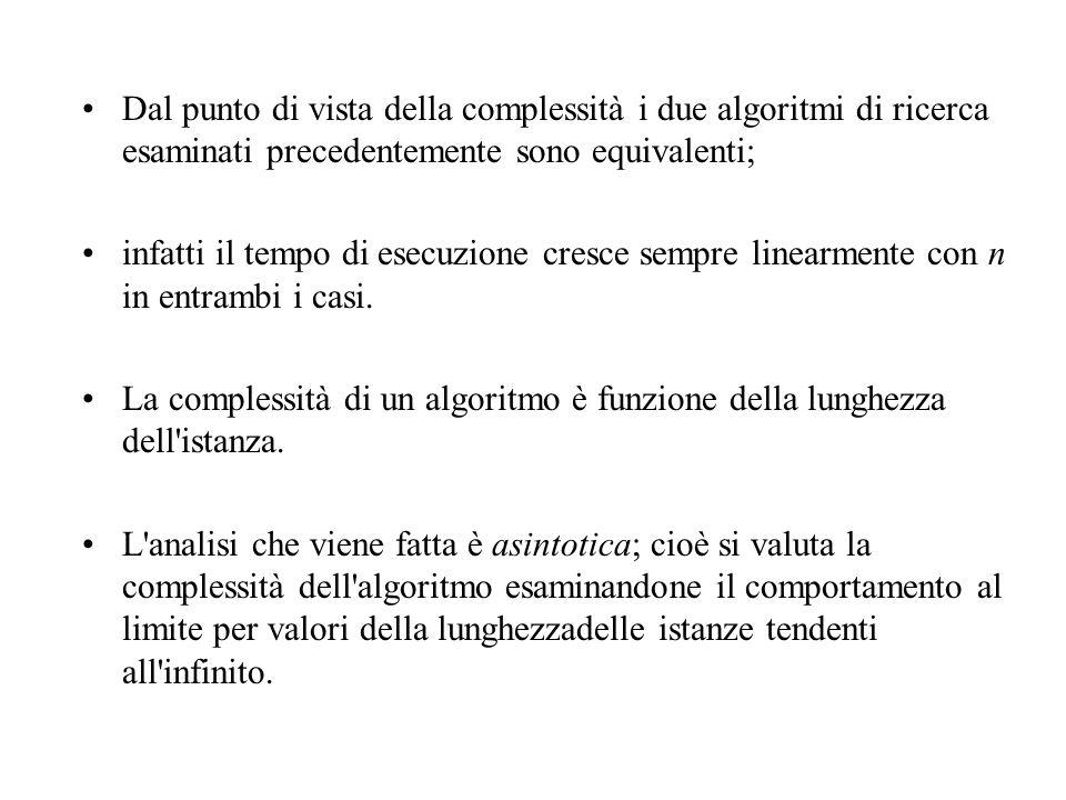 Dal punto di vista della complessità i due algoritmi di ricerca esaminati precedentemente sono equivalenti;