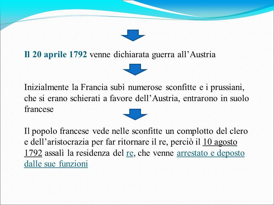 Il 20 aprile 1792 venne dichiarata guerra all'Austria