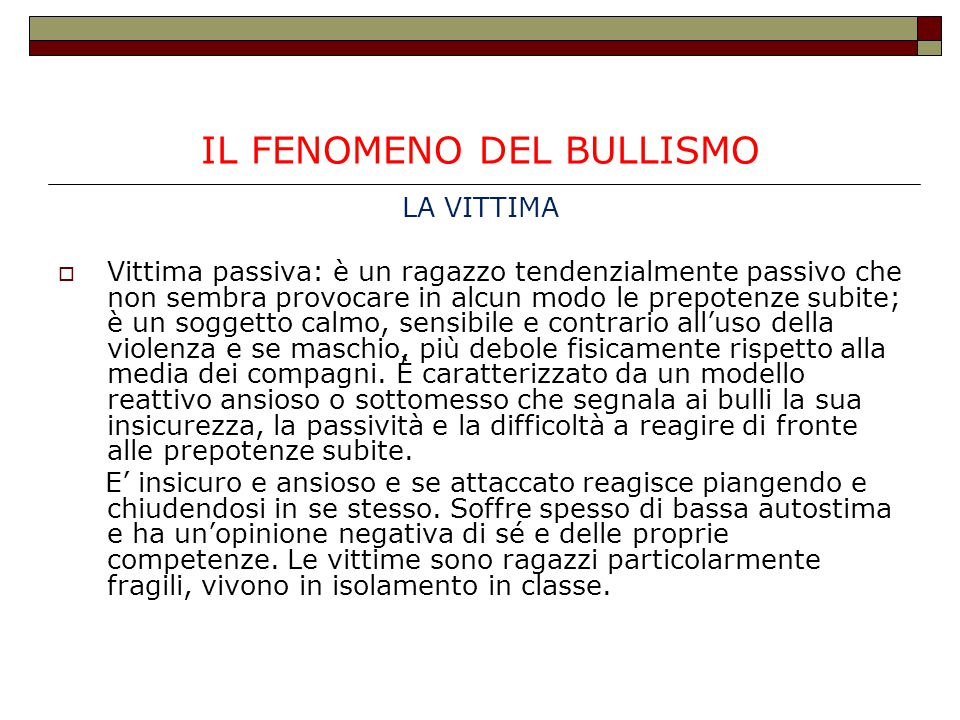 IL FENOMENO DEL BULLISMO