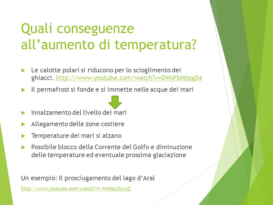 Quali conseguenze all'aumento di temperatura