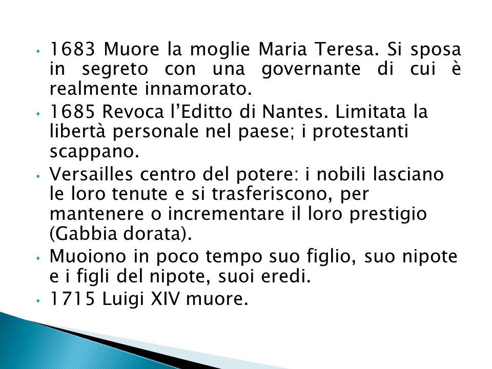 1683 Muore la moglie Maria Teresa