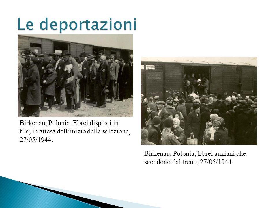 Le deportazioni Birkenau, Polonia, Ebrei disposti in file, in attesa dell'inizio della selezione, 27/05/1944.