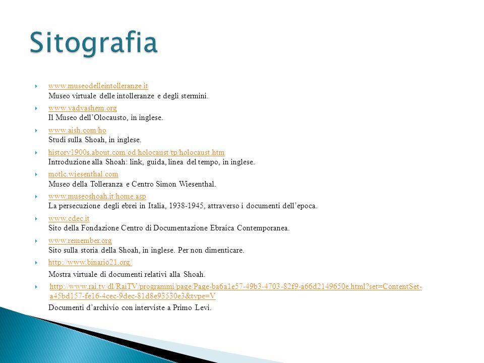 Sitografia www.museodelleintolleranze.it Museo virtuale delle intolleranze e degli stermini.