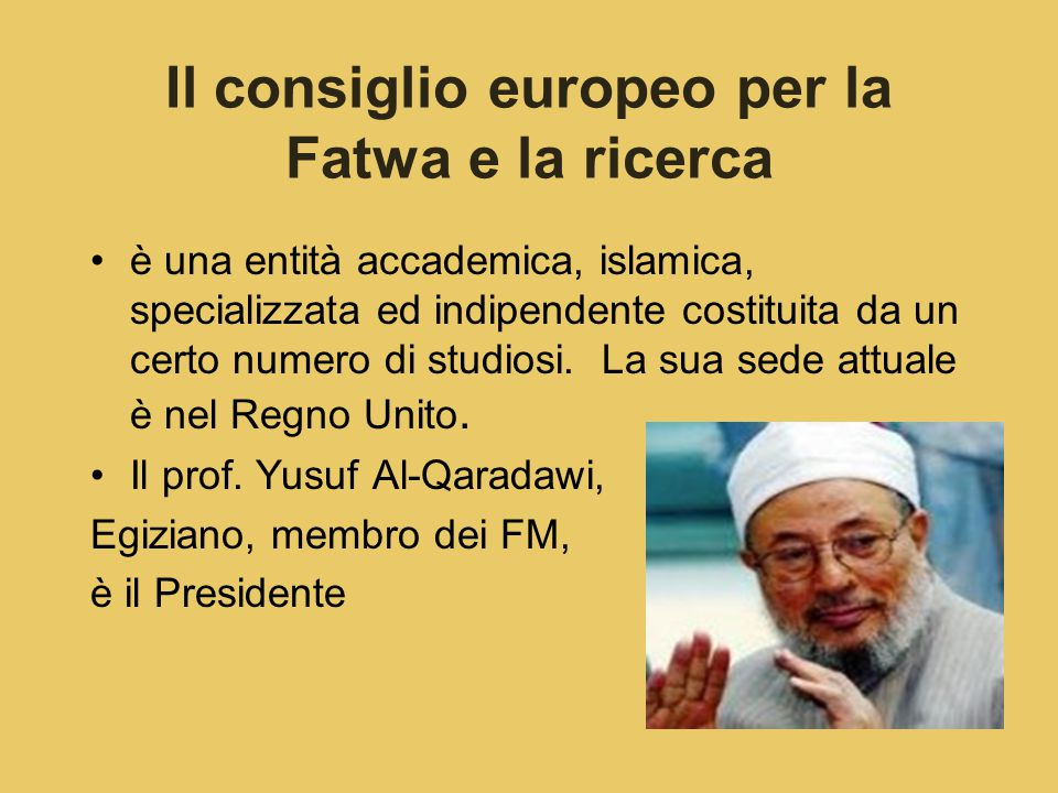 Il consiglio europeo per la Fatwa e la ricerca