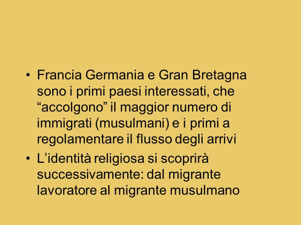 Francia Germania e Gran Bretagna sono i primi paesi interessati, che accolgono il maggior numero di immigrati (musulmani) e i primi a regolamentare il flusso degli arrivi