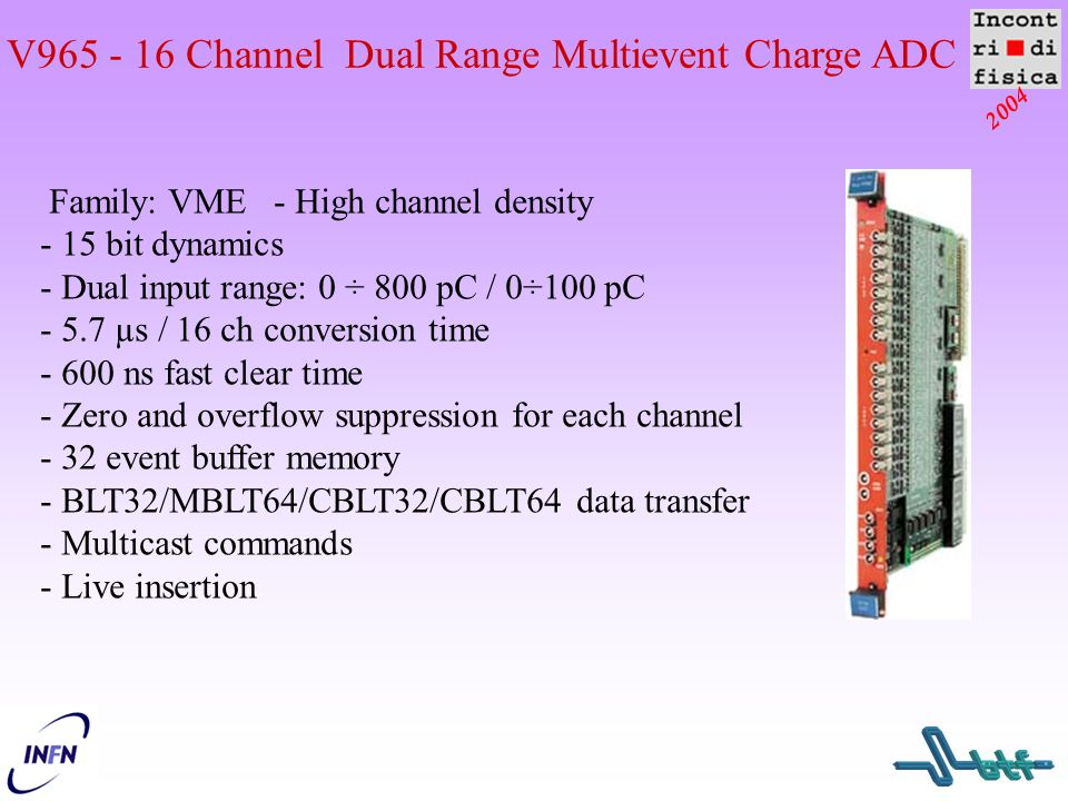 V965 - 16 Channel Dual Range Multievent Charge ADC