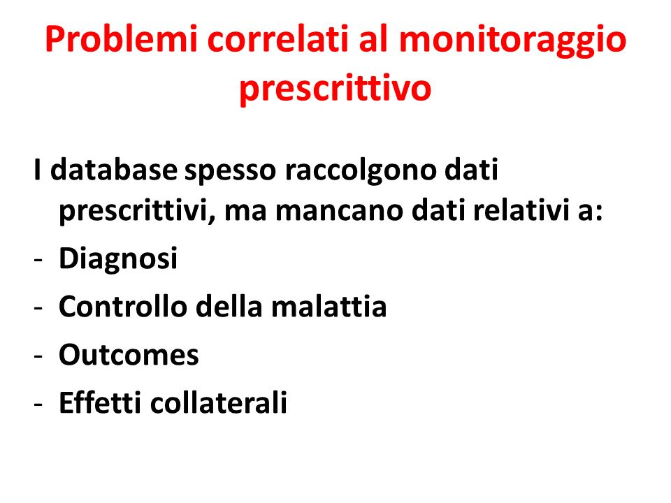 Problemi correlati al monitoraggio prescrittivo