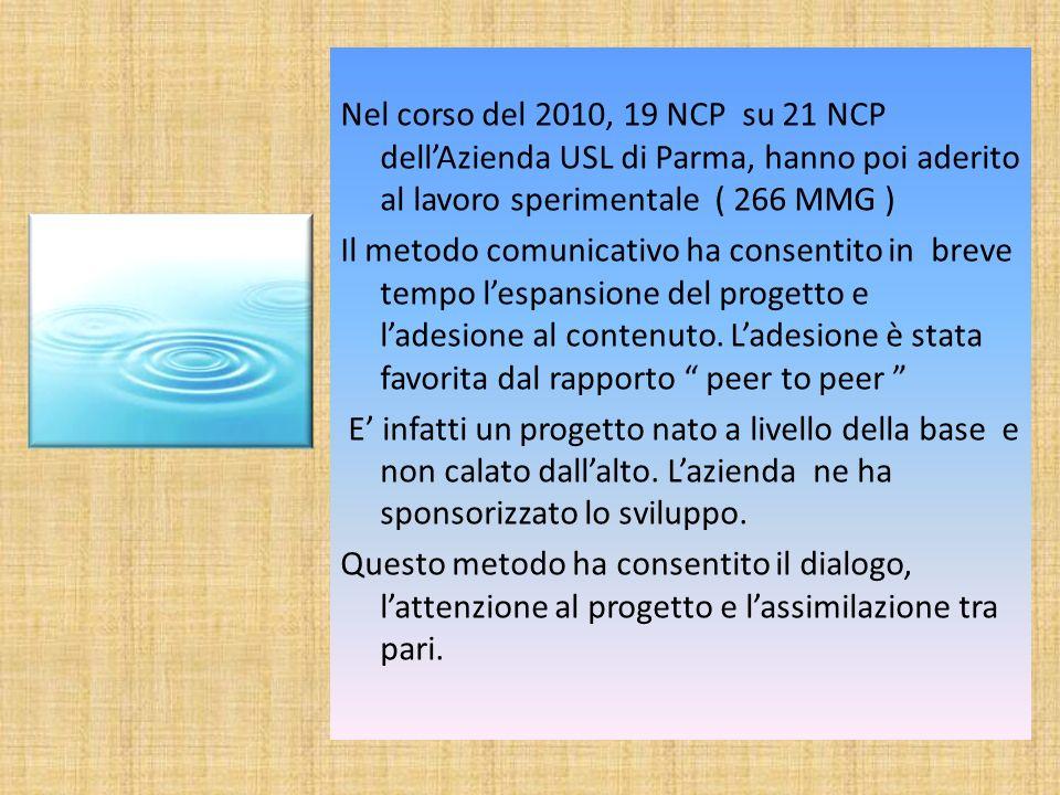 Nel corso del 2010, 19 NCP su 21 NCP dell'Azienda USL di Parma, hanno poi aderito al lavoro sperimentale ( 266 MMG )