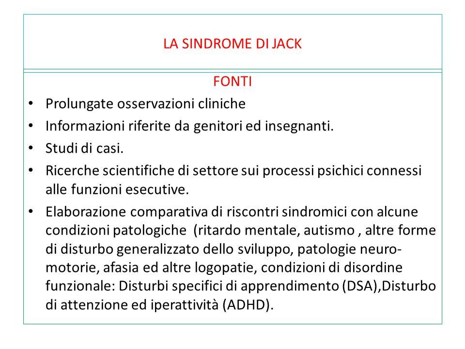 LA SINDROME DI JACK FONTI. Prolungate osservazioni cliniche. Informazioni riferite da genitori ed insegnanti.