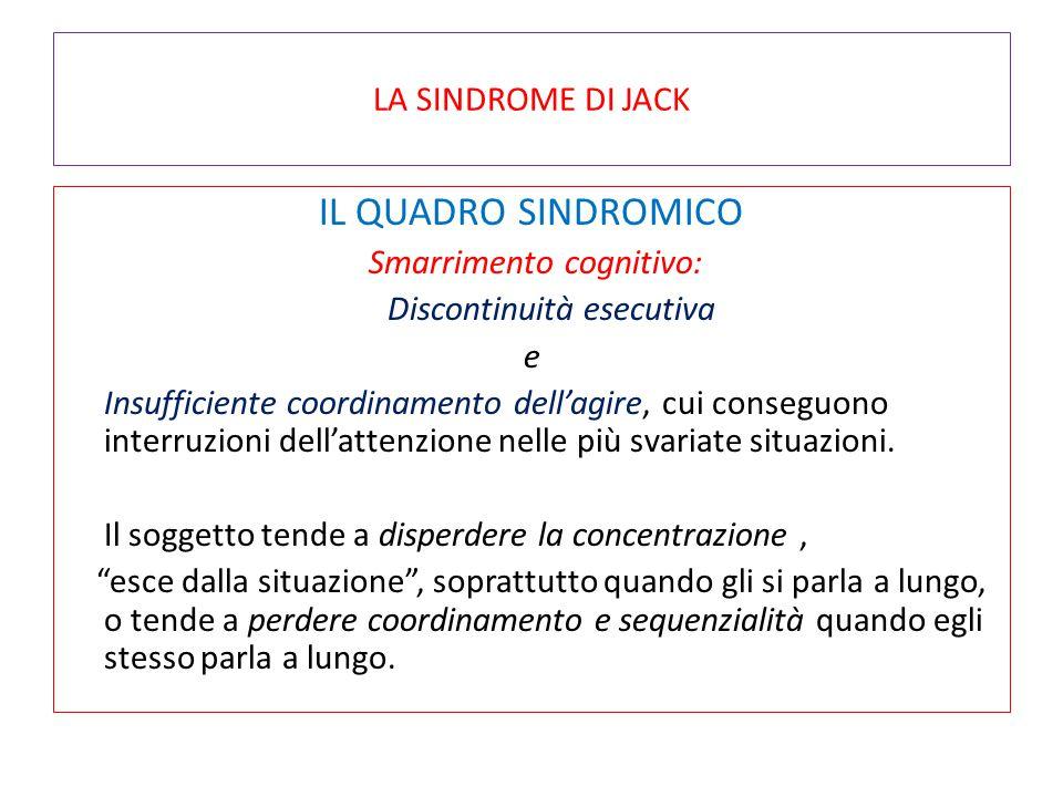 IL QUADRO SINDROMICO LA SINDROME DI JACK Smarrimento cognitivo: