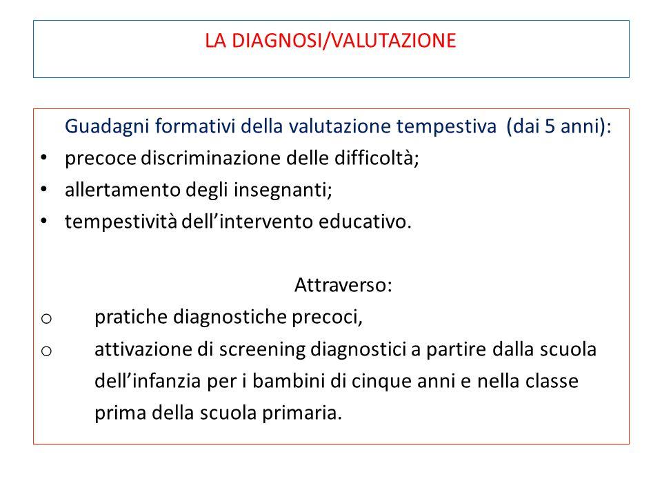 LA DIAGNOSI/VALUTAZIONE