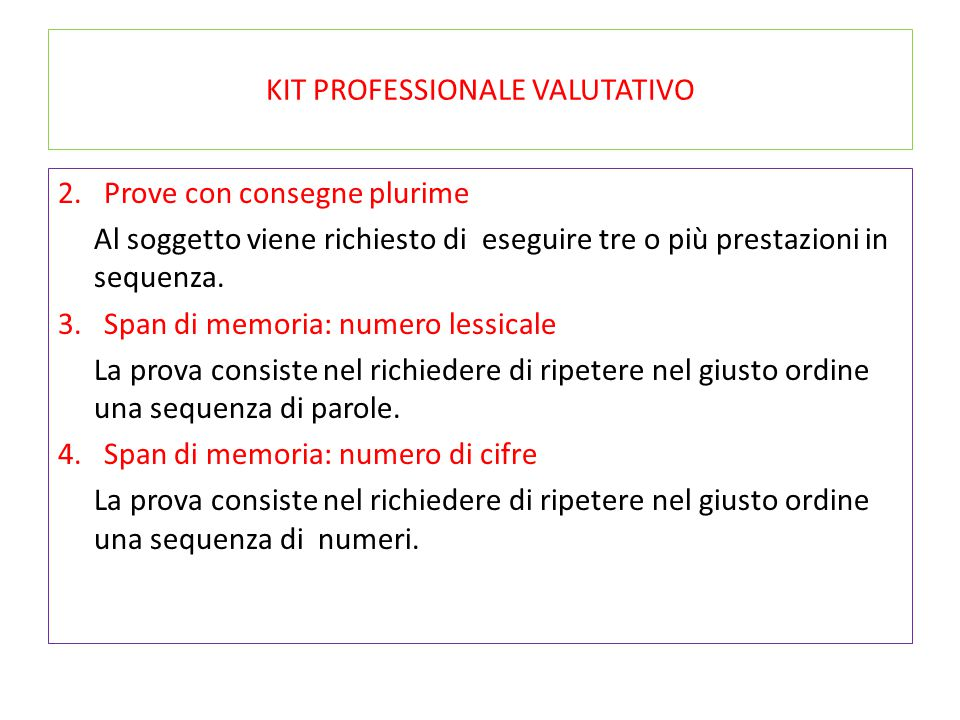 KIT PROFESSIONALE VALUTATIVO