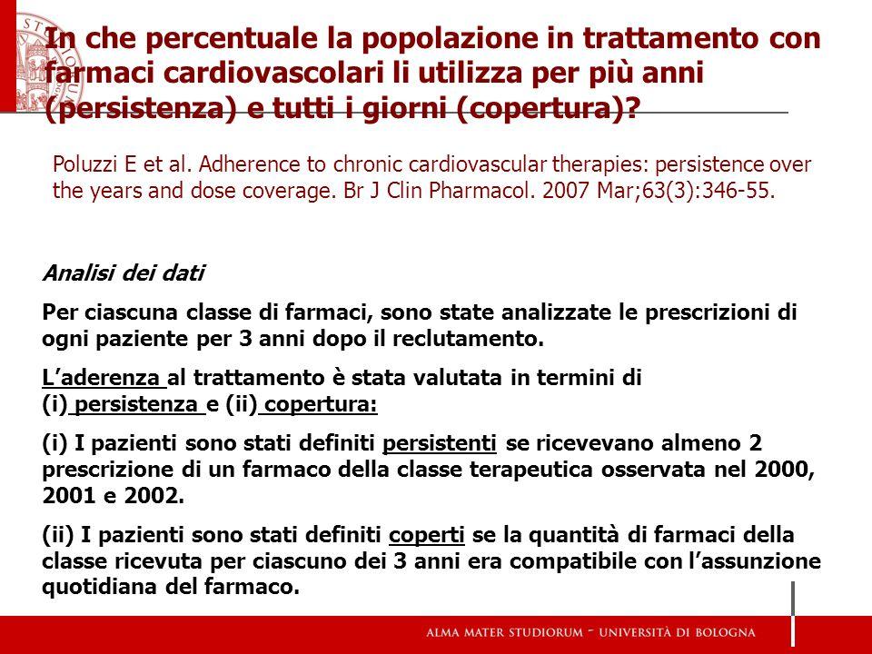 In che percentuale la popolazione in trattamento con farmaci cardiovascolari li utilizza per più anni (persistenza) e tutti i giorni (copertura)