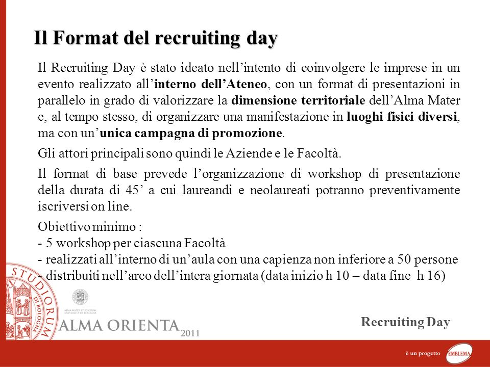 Il Format del recruiting day