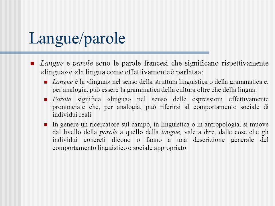 Langue/parole Langue e parole sono le parole francesi che significano rispettivamente «lingua» e «la lingua come effettivamente è parlata»: