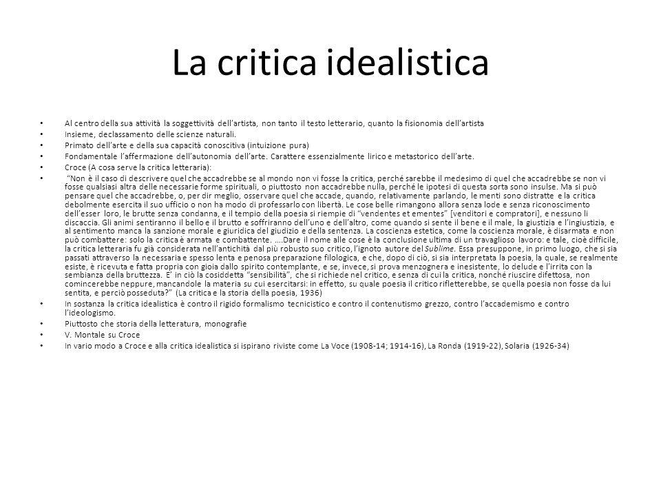 La critica idealistica