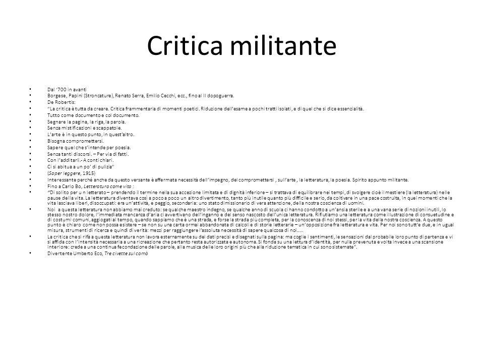 Critica militante Dal '700 in avanti
