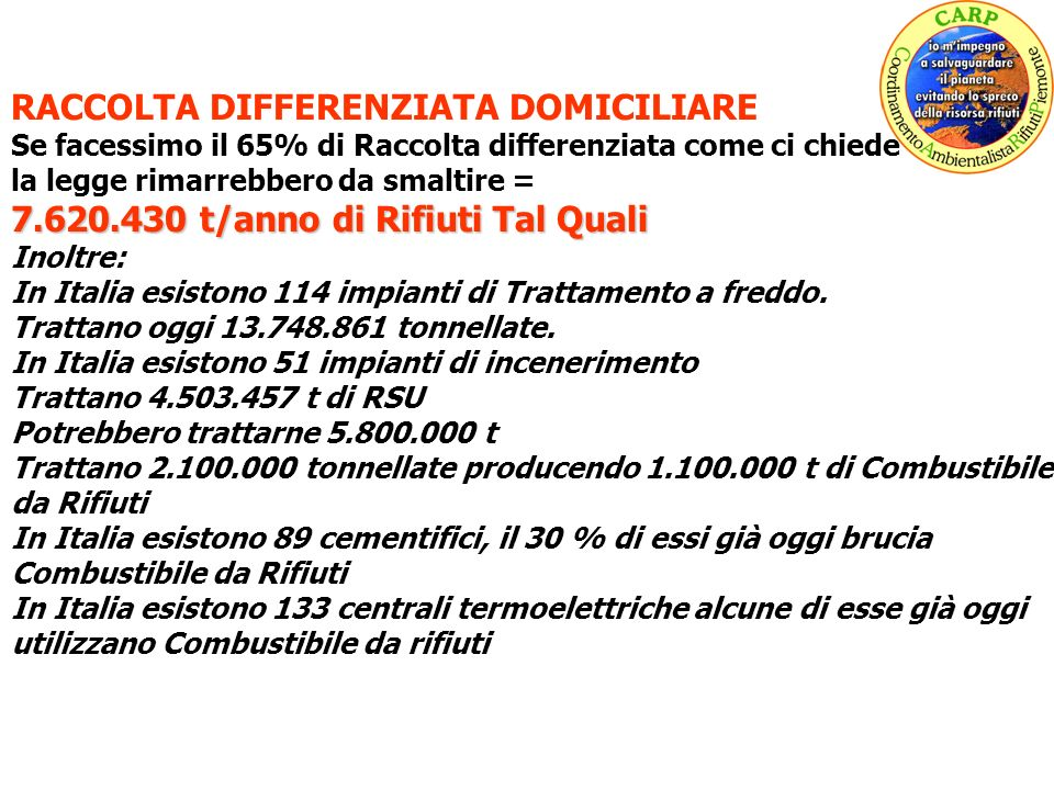 RACCOLTA DIFFERENZIATA DOMICILIARE