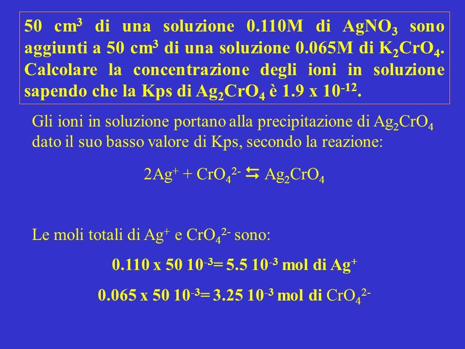 50 cm3 di una soluzione 0.110M di AgNO3 sono aggiunti a 50 cm3 di una soluzione 0.065M di K2CrO4. Calcolare la concentrazione degli ioni in soluzione sapendo che la Kps di Ag2CrO4 è 1.9 x 10-12.