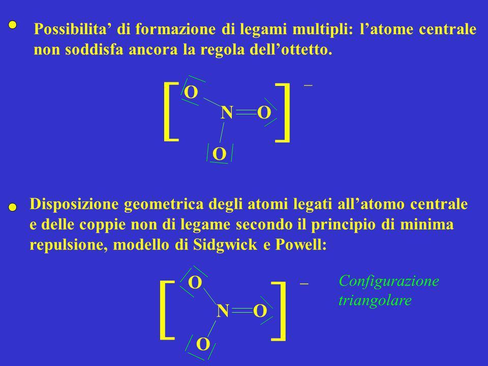Possibilita' di formazione di legami multipli: l'atome centrale non soddisfa ancora la regola dell'ottetto.