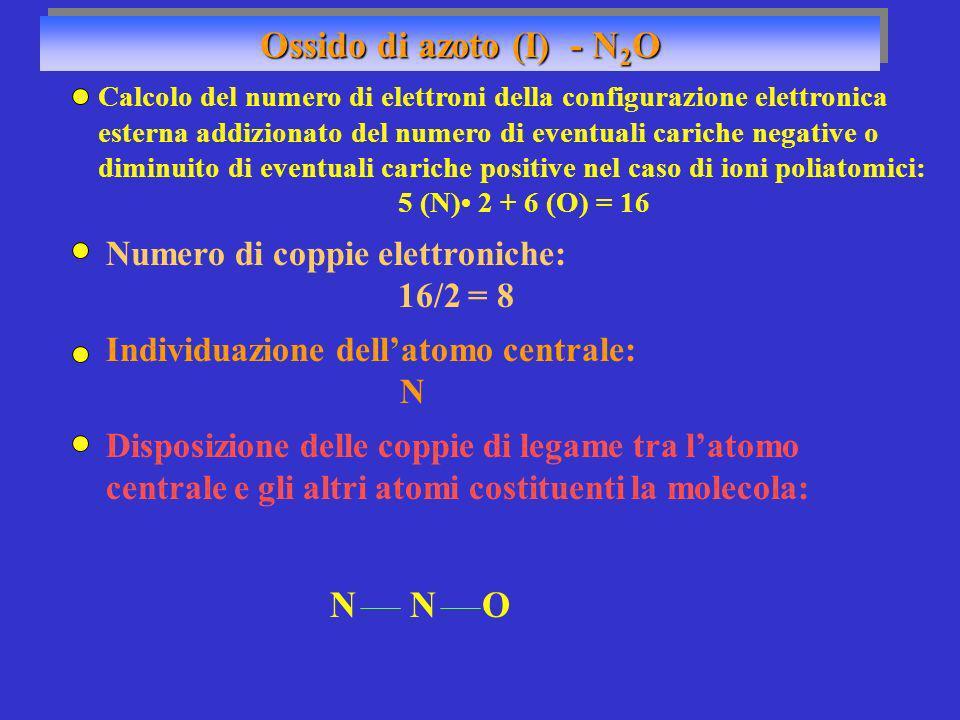 Ossido di azoto (I) - N2O N N O Numero di coppie elettroniche: