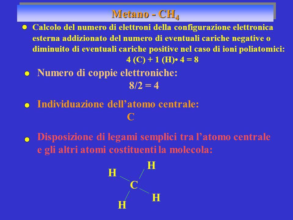 Metano - CH4 H C Numero di coppie elettroniche: 8/2 = 4