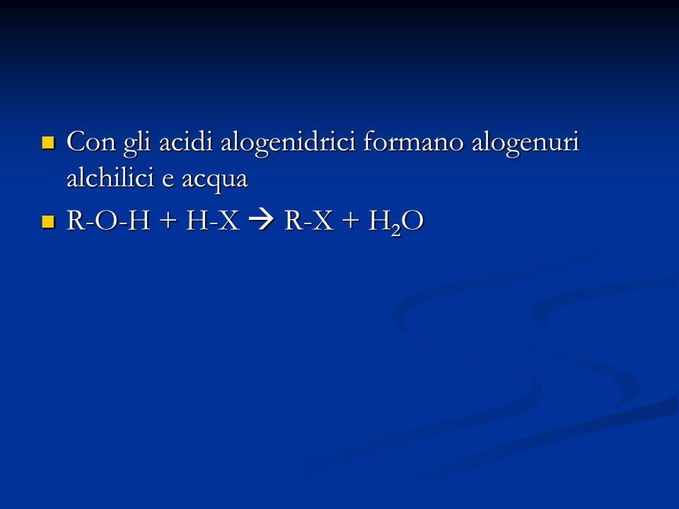 Con gli acidi alogenidrici formano alogenuri alchilici e acqua