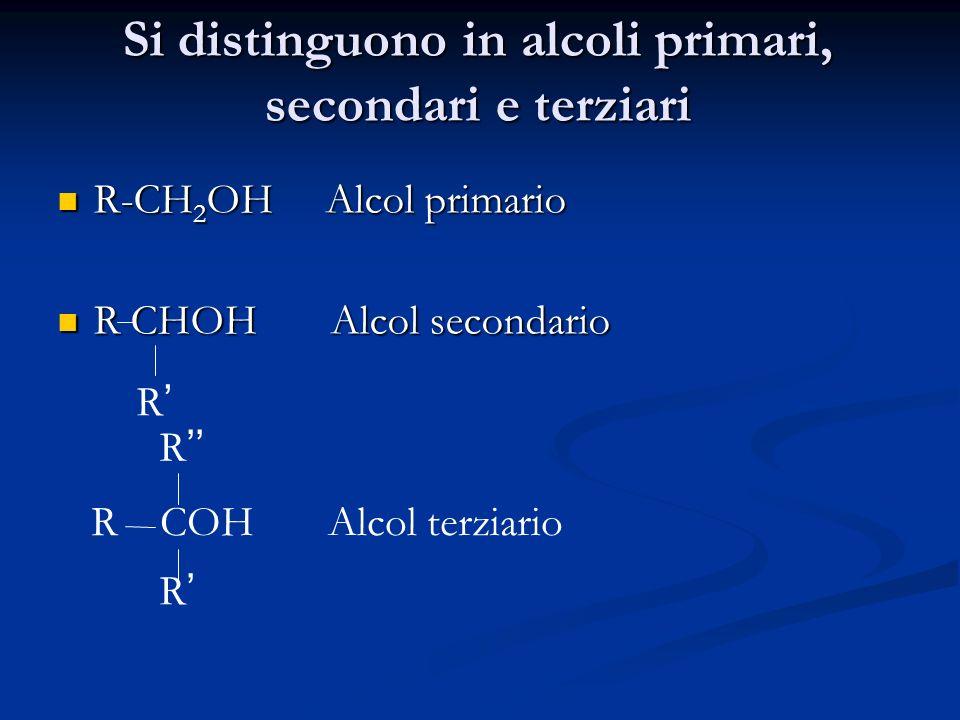 Si distinguono in alcoli primari, secondari e terziari