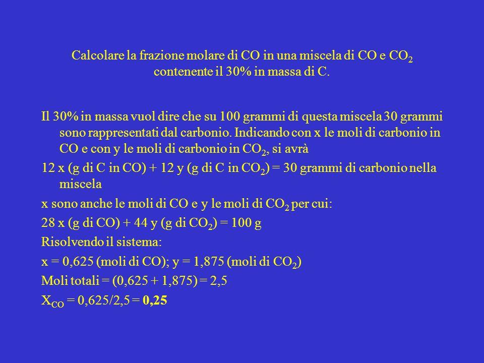Calcolare la frazione molare di CO in una miscela di CO e CO2 contenente il 30% in massa di C.